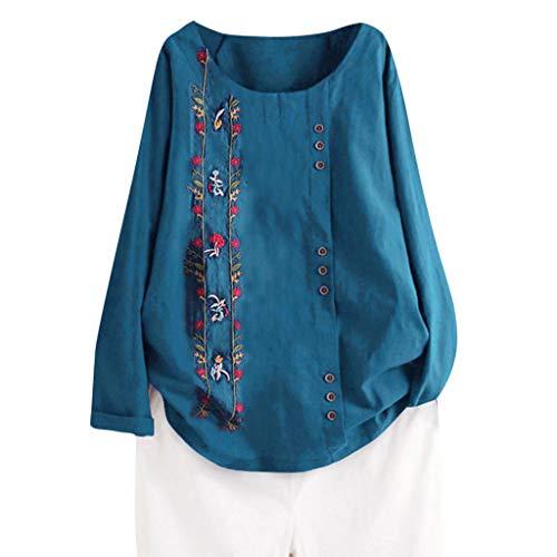 KIMODO Damen lose Boho Drucken Bluse mit Knopf, Frauen Leinen Langarmshirt O-Hals T Shirt Oberteile Freizeit Tops Große Größe (Blau, XL)