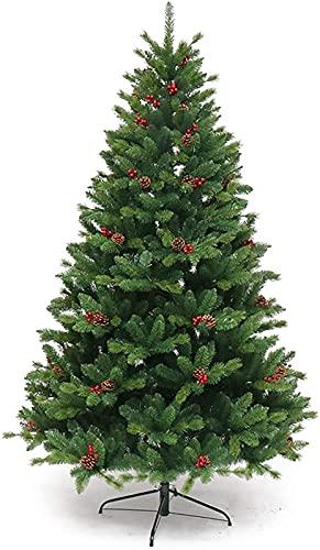 Árbol de Navidad Artificial Fácil de ensamblar Decoración de Navidad Interior Cono de Pino al Aire Libre Cono Rojo Fruta Spruce Árbol de Navidad (Color : MediumGreen, Size : 240cm/8ft)