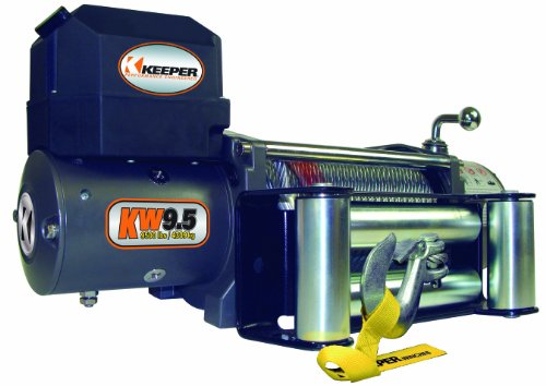 KEEPER KW95122-1 KW 9.5, Electric Winch, 9,500 lbs. Single Line Pull, 12V DC with Wireless Remote
