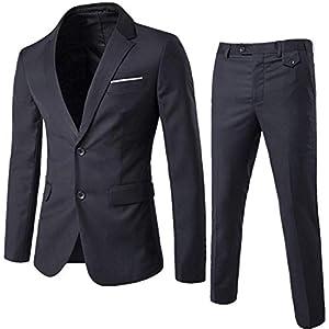 HUDONG スーツメンズ 上下セット セットアップスーツ 2つボタン 多色 スリム 結婚式/ビジネス/カジュアル/オシャレ 就職 紳士服 二次会 パーティー 全8色 全シーズン 洗える 抗シワ XS-5XL (Color : A, Size : S)