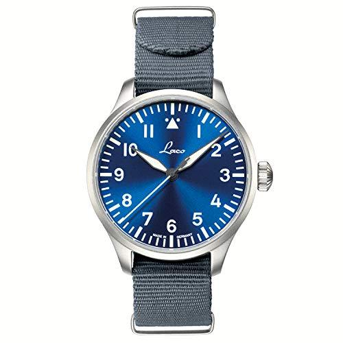 Laco Fliegeruhr Basis Augsburg Blaue Stunde, Ø 39mm, hochwertige Automatikuhr, Armbanduhr Einzigartige Qualität, 5 ATM Wasserdicht, Zeitloses Design – seit 1925 (Silber)