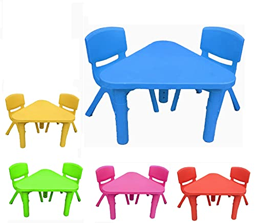 Toddlers Chairs and Table Set for Children Kids Study Desk for Boys and Girls Table with Adjustable Height Nursery Furniture Outdoor Indoor (Blue, 2 Chairs)