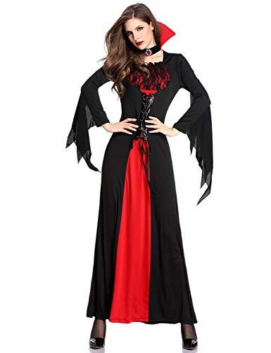 XINSH Disfraz Vampira Halloween Vampiresa Reina Cosplay Novia Cadaver Mujer Novia Zombie Carnaval