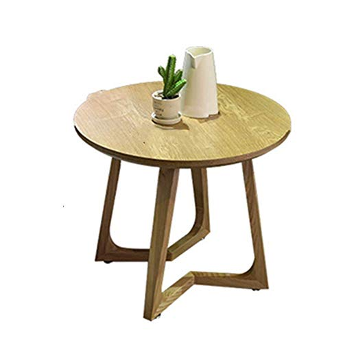 N/Z Daily Equipment Coffee Table Mid Century Modern Coffee Table Round End Table Wood End Accent Roundtable Wooden Leg Side Bedroom Industrial Side Table (Color : Beige Size : 60x60x50cm)