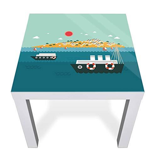 banjado Glasplatte für IKEA Lack Tisch 55x55cm | Abdeckplatte aus Sicherheitsglas | Motiv Land in Sicht | Tischplatte für Beistelltisch, Sofatisch weiß Glasplatte & Tisch