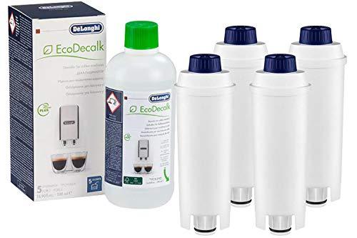 4-pack Wasserfilter ersetzt DLSC002 Filterpatrone SER3017 Filterpatronen 5513292811 kompatibel mit Magnifica Caffe Cappuccino ECAM ETAM EPAM ESAM BCO EC inkl. DeLonghi EcoDecalk 500ml