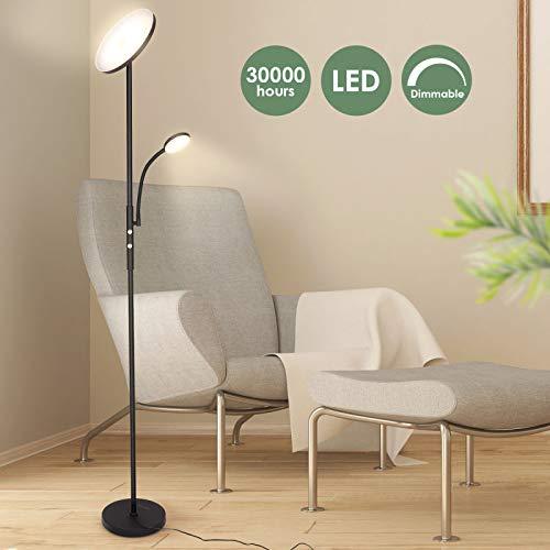 Albrillo Led-vloerlamp, 20W, vloerlamp met 5 W, flexibele leeslamp, dimbaar, superhelder, 1600 lumen, met draaischakelaar, warmwit 3000 K, voor woonkamer, slaapkamer en kantoor