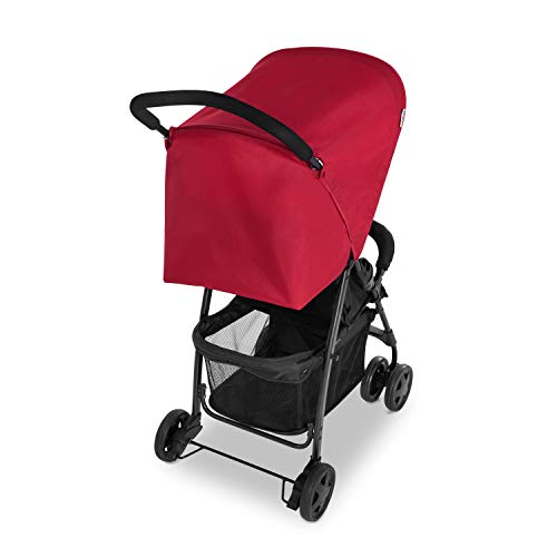 Hauck 171516 Sport silla de paseo ultra ligera de 5,9kg, sistema de arnés de 5 puntos, respaldo reclinable, plegable, para bebes de 6 meses a 15kg - negro/rojo