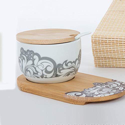 Ingrosso e Risparmio Cuorematto - Azucarero de cerámica blanca decorada con cuchara sobre base de madera, detalles útiles, solidarios, con caja de regalo incluida