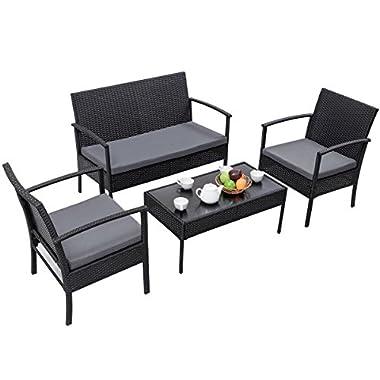 TANGKULA 4 Piece Outdoor Furniture Set Patio Garden Pool Lawn Rattan Wicker Loveseat Sofa Cushioned Seat & Glass Top Coffee Table Modern Wicker Rattan Conversation Set (Black)