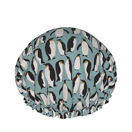 Gorro de ducha, extra grande, ajustable, de doble capa, impermeable, para mujeres y niñas (colonia de pingüinos)