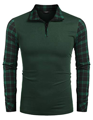 COOFANDY Men's Long Sleeve Polo Shirts Casual Slim Fit Zipper Plaid Polo T Shirts (XL, Green)