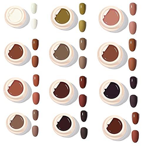 12 flaconi di gel solido per smalto, kit di smalto a lunga durata ad asciugatura rapida, smalto per unghie a led UV, set di smalto per unghie perfetto nudo fai da te ragazze donne (5 ml bottiglia)