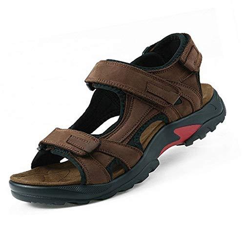 Hombres Sandalias al Aire Libre Cuero Gladiador Zapatos de Verano Gancho Lazo Casual Chancletas Peep Toe Zapatillas