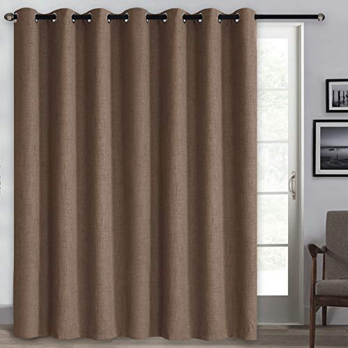 Rose Home Fashion 100% Blackout Curtains, Sliding Door Curtains for Living Room Linen Textured Patio Door Curtains Drapes Extra Wide Grommet Curtain Panel-1 Panel (100x84 Chocolate)