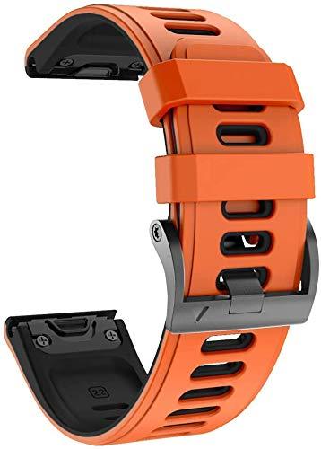 NotoCity Garmin Fenix 6 Correa, 22mm Easy-Fit Silicona Reemplazo Correa para Garmin Fenix 6/Fenix 6 Pro/Fenix 5/Fenix 5 Plus/Forerunner 935/945,no Adapta a Fenix 6X, 6s … (Negro+Naranja)