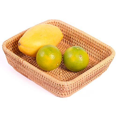 Obstkorb Rattan-Speicher-Korb Startseite Geschenkkorb Bambus Tragbarer ländliches Picknick Gemüse Obst Brot Korb von Hand gewebt, natürliche Farben (Größe : S)