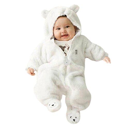 K-youth Ropa para Niños Bebés Conjunto Body Bebe Manga Larga Monos con Capucha Cremallera Mameluco Jumpsuit Trajes Ropa Bebe Recien Nacido Niña Niño Otoño Invierno 0-9 Meses (Blanco, 3-6 Meses)