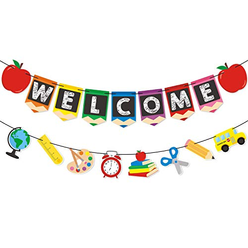 Boecn Welcome Banner Kids Back to School Theme Party Apple Pencil Stationery Garland First Day New Grade of Class Pennant Ideas Photo Props Decoration Supplies