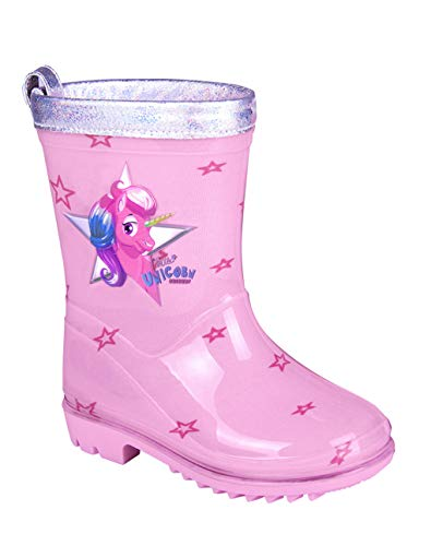 PERLETTI Botas de Agua para Niña Unicornio - Botines Impermeables de Moda Rosa con Estrellitas - Suela Antideslizante y Borde Plateado Iridiscente - Cool Kids (28-29)