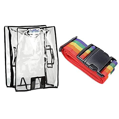 Fambal Waterproof Dust Proof Suitcase Cover Trolley Bag Cover with Zip for Hard & Soft Luggage with Buckle Strap_Transparent_NStrapCNStrapB-37
