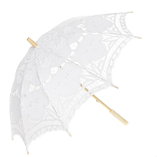 Leisureland Vintage Victorian Lace Parasol Umbrella White