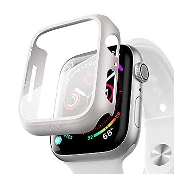 PZOZ Apple Watch Series 6/5/4 44mm ケース PET フィルム 全面保護 耐衝撃 PC アップルウォッチ SE カバー 対応(44mm,ホワイト)