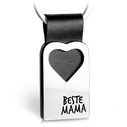 FABACH Herz Schlüsselanhänger mit Gravur aus Leder - Mama Geschenk Anhänger für Muttertag und Geburtstag - Beste Mama