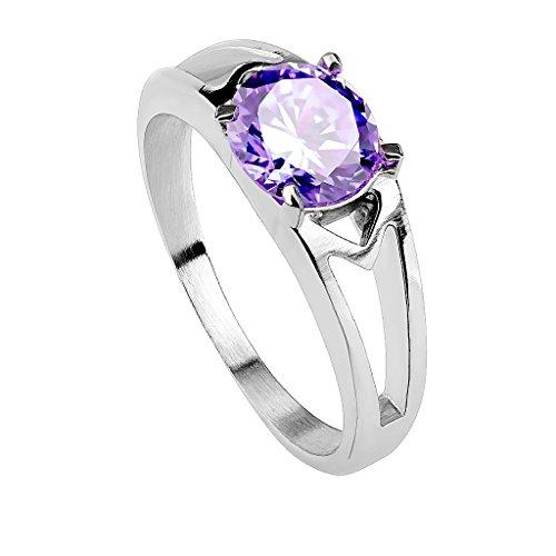 Piersando Damen Ring Edelstahl poliert mit Zirkonia Stein in Diamant Form Damenring Trauring Verlobungsring Silber Tanzanite Größe 58 (18.5)