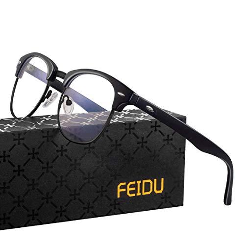 FEIDU Blaulichtfilter Brille -Halbrahmen Brille Herren Computerbrille Damen UV-Schutz Farbwechsel Schutzbrille Gegen Augenermüdung 0 Grad Transparente Gläser FD3031 (schwarz)
