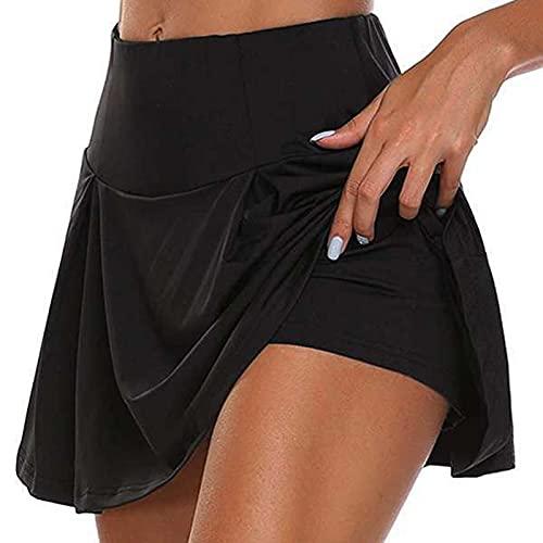 SamMoSon Gonna Tennis con Pantaloncino Tasca Vita Alta Estivi Gonna Pantaloni Culotte Donna Sportivi Corto da Yoga, Tennis, Golf, Nuoto, Corsa, Allenamento