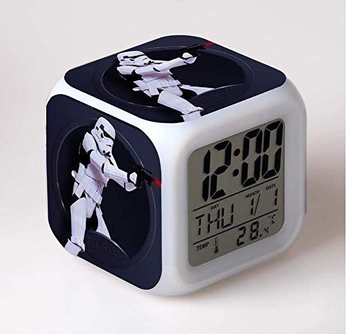 SXWY Sveglia Star Wars Digitale, Colorful Lights Mood Alarm Clock Quartet Disponibile Ricarica USB Adatto A Bambini E Ragazzi Bambini Regali Speciali,3