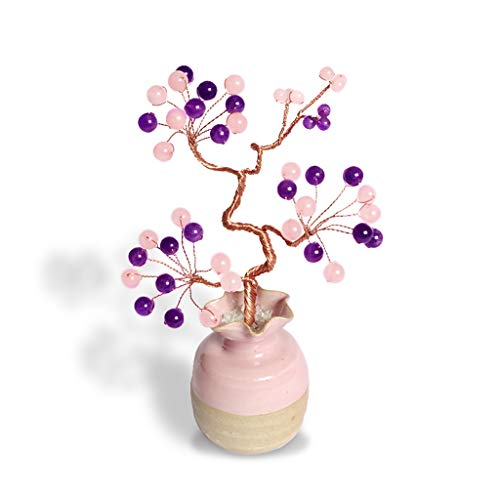 Xilinshop Crystal Money Tree Crystal Tree Home Decorations Birthday Gifts Bonsai Fortune Money Tree for Good Luck Wealth Prosperity Home Office Decor Spiritual Gift Feng Shui Money Tree (Color : A)