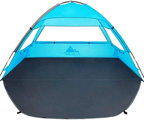 NXONE Beach Tent Sun Shade Shelter for 2-3 Person with UPF 50+ Protection, Extended Floor & 3 Mesh Roll Up Windows丨Carrying Bag, Stakes, Tiedown Strings Included, Ocean Blue