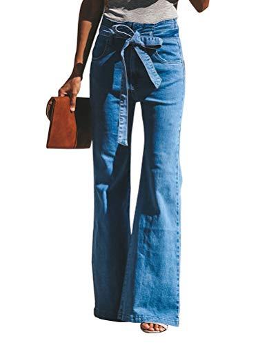 Minetom Damen Jeans Stretch Skinny Low Waist Weites Bein Casual Jeanshose Retro Stil Blau Denim Schlagjeans B Blau L