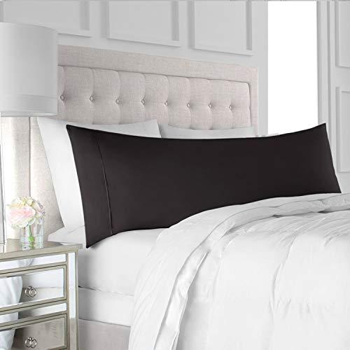 "Italian Luxury Body Pillow Cover - Soft, Allergy-Friendly Microfiber Pillow Case w/ No Zipper - Long Body Pillows for Adults - 21"" x 60"", Black"