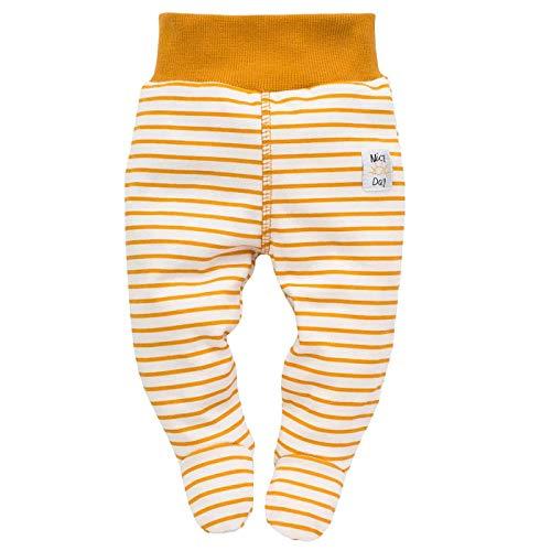 Baby Strampelhose mit Fuß Babyhose Jungen Mädchen Streifen Gestreift Kinder Hose Halb Strampler - Schlafhose mit Füßen (elastischer Bund) - 100% Baumwolle - Currygelb Senfgelb - 56
