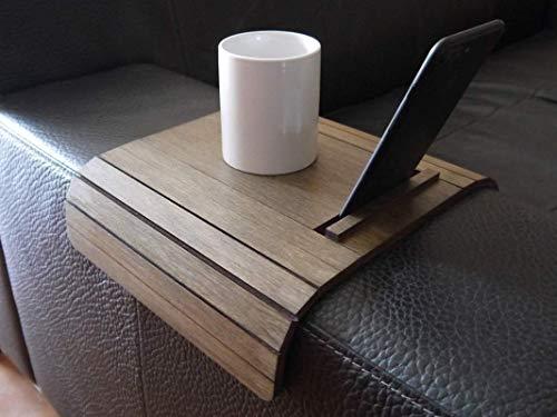 Kleiner sofa armlehnentisch wohnzimmer holz mit smartphone und kindle paperwhite ständer anpassbares wenge Mini flexibler sofatisch modern Couch tisch lehne klein Armlehnentablett Couchtisch tablett