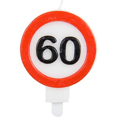 Party Collection Geburtstagskerze Kerze 60 in Form eines Verkehrsschildes 6x8,5cm