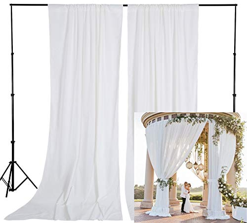 White Polyester Backdrop Curtains 10ft x 10ft Wedding Backdrop Drapes Birthday Party Stage Decorations