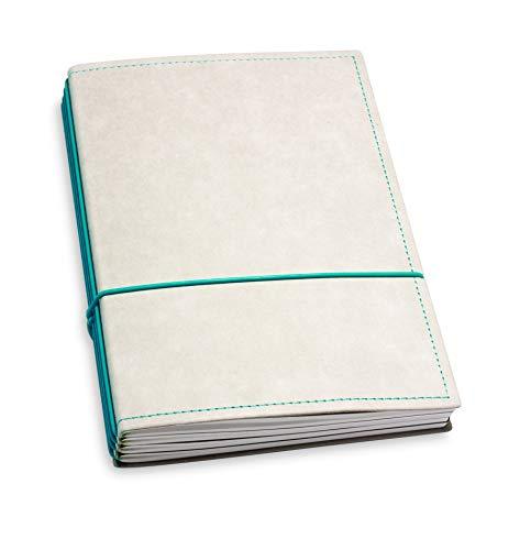 A5, revolutionäres X17-Notizbuch/Personal Organizer! Vegan! Deutsches Zellulose-Material, grau + türkis/grün; Inhalt: 4 Hefte (blanko, liniert, kariert, gepunktet) austauschbar=nachhaltig!