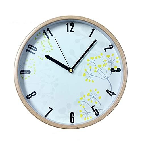 Reloj de Pared Reloj De Pared De 12 Pulgadas De La Decoración Del Hogar Del Arte Nórdico Simple De Madera Redonda Reloj Creativo Idílico Moda Nórdica Moderna Sala Dormitorio, De Fácil Lectura Números