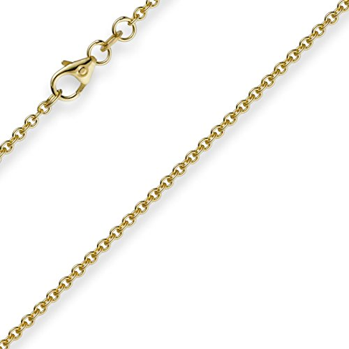 1,9mm Rund-Ankerkette 750 Gold Gelbgold Kette Collier Halskette, 50cm
