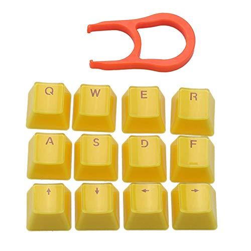 Accesorios de teclado de 12 teclas PBT Crystal Translúcido Teclas con extractor de llaves para teclado mecánico portátil, accesorios de repuesto para accesorios de repuesto para amantes del juego