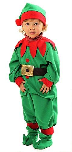 Magicoo Weihnachtself Kostüm Kinder Deluxe - Elfen Kostüm Kinder - Elfenkostüm Kinder - Weihnachtskostüm Kinder (110/116)