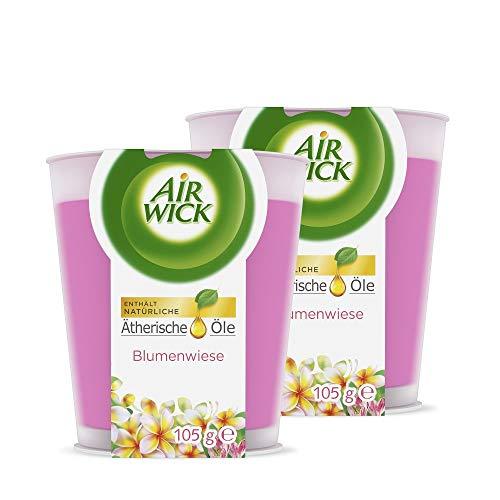 Air Wick Wohlfühl-Duftkerze im Glas – Duft: Blumenwiese – Enthält natürliche ätherische Öle – 2 x Duftkerze in rosa