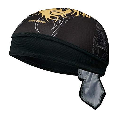 LANTELSHANO Protección UV Deporte Headwear Verano De Secado Rápido En Bicicleta Esqueleto del Sombrero De Los Hombres De La Cocción Pañuelo De Barbacoa Transpirable Chef,Negro