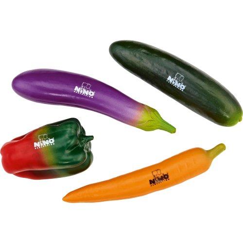 Nino Percussion NINOSET101 - Shaker a forma di verdura, set di 4 pezzi