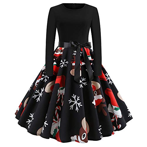 INLLADDY Damen Weihnachtskleider Frauen Geschenk Vintage Christmas Print Langarm Oansatz Abend Party Swing Kleid Club Festival Karneval Kleid Karneval Kostüme Dress Kleid Schwarz XS