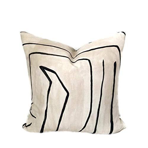 Ol322ay Kelly Wearstler Graffito Funda de almohada de lino ónix decorativa almohada almohada cojín lumbar acento almohada decoración del hogar